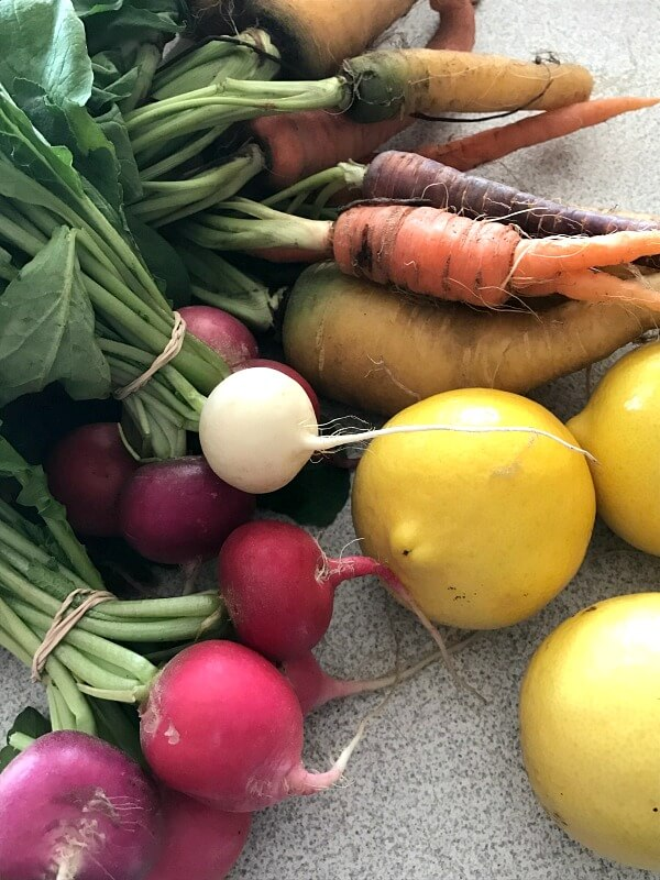 Farmers Market Finds for March - organic carrots, radishes and sweet limes