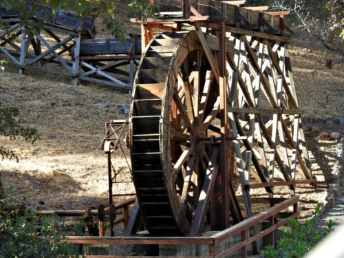 Autumn in California: Ironstone Vineyards Wooden Water Wheel and Log Cabin